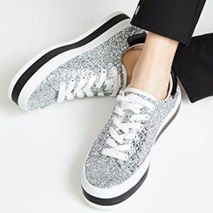 Alice + Olivia Ezra Glitter Platform Sneakers
